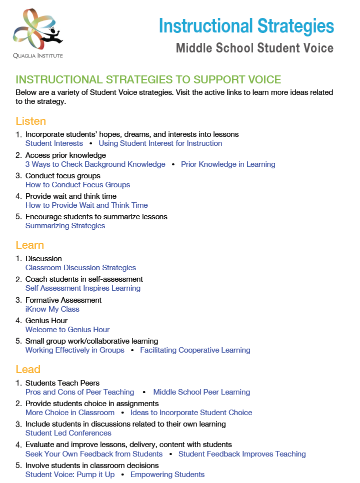 Voice Instructional Strategies - Middle School